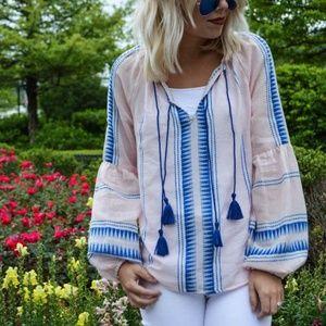 Greylin Casi  pink white blue peasant boho top szM
